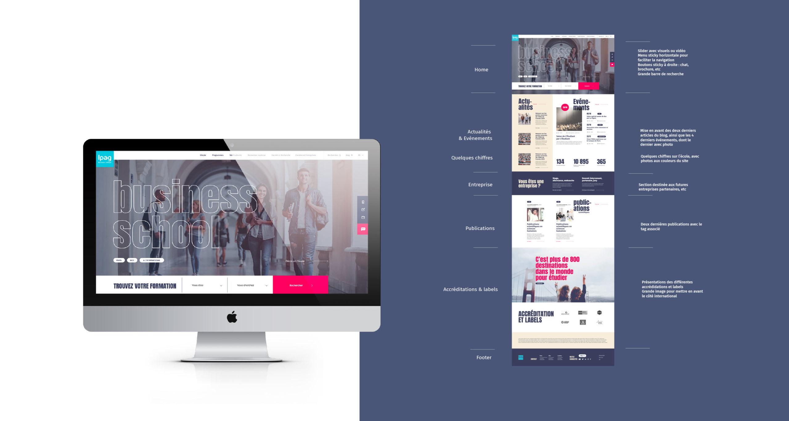Déclinaison graphique de la page d'accueil en version desktop