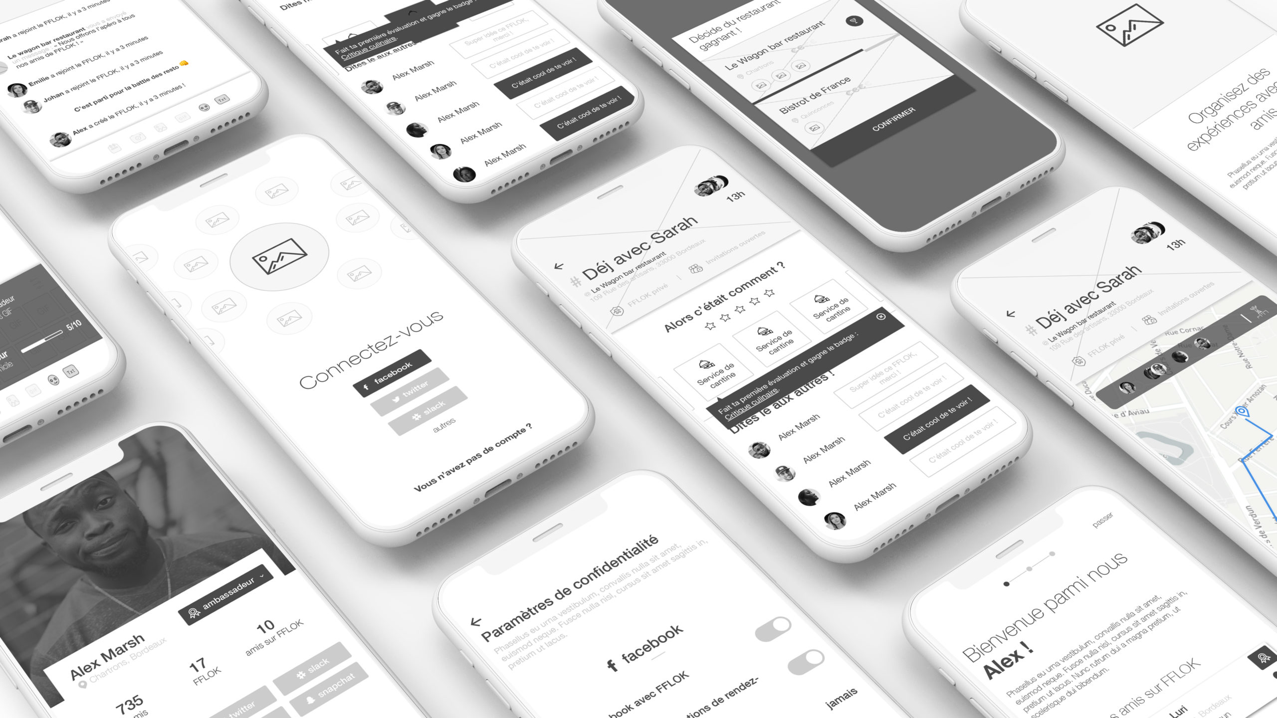 Wireframes de l'application mobile