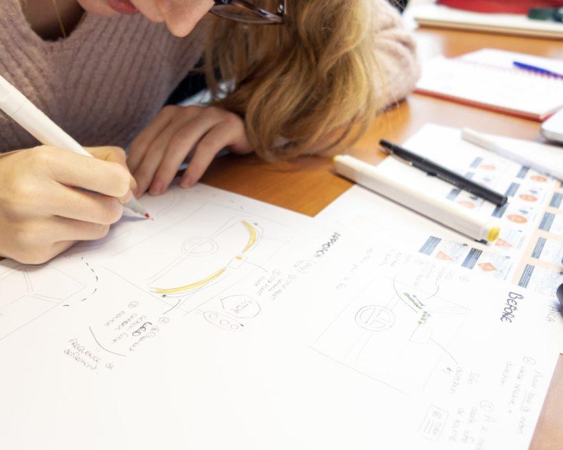 Sketch papier pour les différents concepts à développer