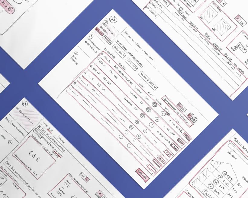 Mockup des sketches papier de l'interface